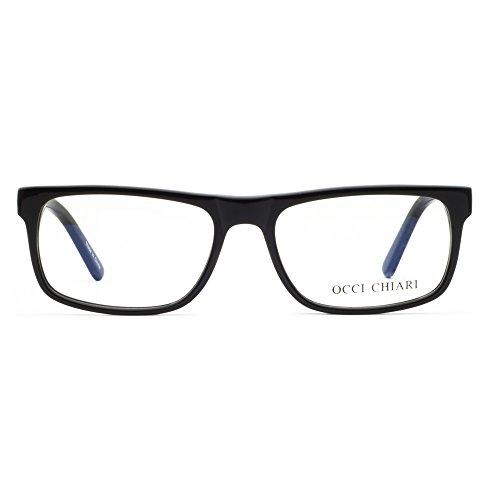 OCCI CHIARI Unisex Casual Full-Rim Acetate Eyeglasses Frames With Clear Lenses (Black, - Frame Glasses Acetate