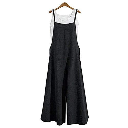 Women's Casual Jumpsuits Overalls Baggy Bib Pants Plus Size Wide Leg Rompers (Black-1, M) ()