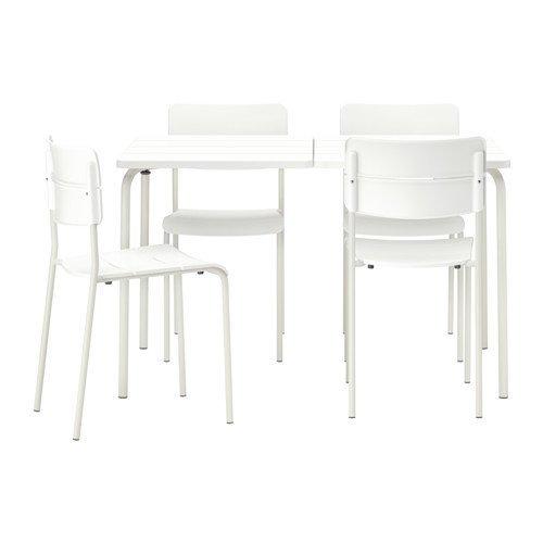 Ikea VÄDDÖ Table and 4 chairs, outdoor, white 12202.142614.622 (Ikea Folding Table White)