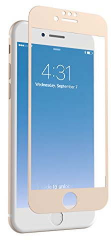 ZAGG InvisibleShield Glass + Luxe Screen Protector for Apple iPhone 8, iPhone 7, iPhone 6s, iPhone 6 - Extreme Impact and Scratch Protection - Gold