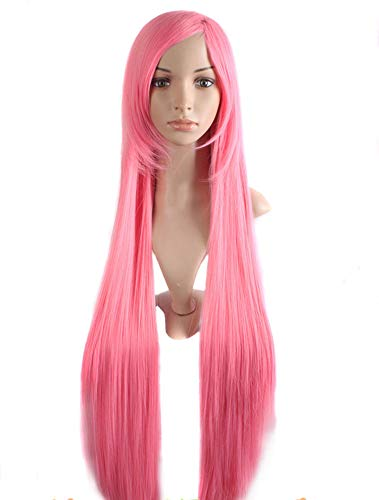 Long Straight Hair Wig Ladies Heat Resistant Synthetic Wigs,Pink,38inches ()