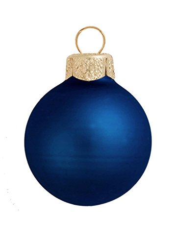 12ct Matte Midnight Blue Glass Ball Christmas Ornaments 2.75