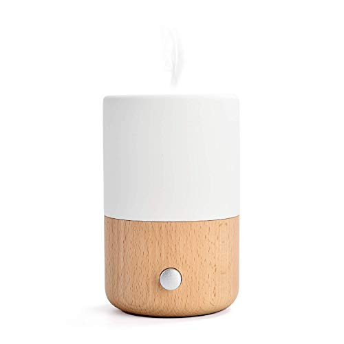 Emma Waterless Nebulizing Essential Oil Diffuser and Ambient Night Light, Wood & Handmade Ceramic Aromatherapy Humidifier, by ZEIGGA LAB