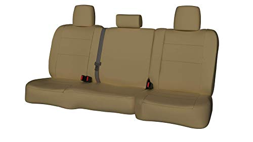 Rear SEAT: ShearComfort Custom Waterproof Cordura Seat Covers for GMC Yukon (2003-2006) in Tan for 60/40 Split Back and Bottom w/Pullout Arm and Large Folding Headrests and Seatbelt in Backrest
