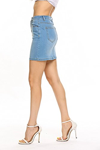 e023863259 Jual ANGVNS Women's Casual Mini Stretch Denim Skirt High Waist Jean ...