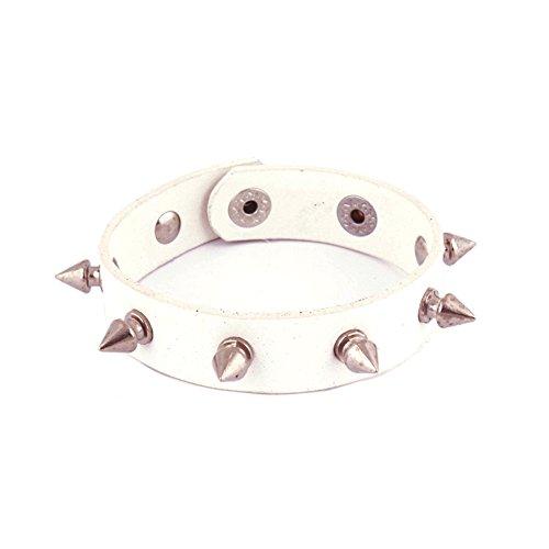 Studded White Snap (Leather Bracelet Punk Spike Rivet Cuff Bangle Metal Studded White Wristband)