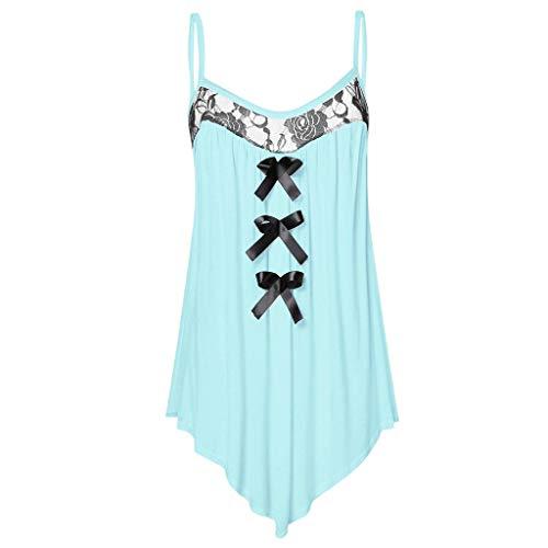 Pongfunsy Womens Fashion Sleeveless Lace Panel Bowknot Embellished Cami Tank Tops Blue