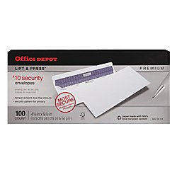 Office Depot Lift Press(TM) Premium Envelopes, 10 (4 1/8in. x 9 1/2in.), 100% Recycled, White, Pack Of 100, 76100