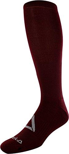 Reebok Athletic Football/Soccer/Baseball Socks, Over Calf Cushioned Socks, Over The Knee High Sport Socks for Men and Women(Burgundy/Small)