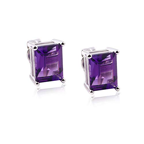 Square Purple Crystal Stud Earrings Womens 925 Sterling Silver Synthetic Amethyst Engagement Stud Earrings for Girls (Best Atta For Health)