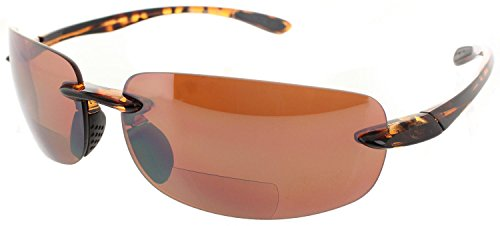 (Fiore Island Sol Bifocal Reading Sunglasses Rimless TR90 Readers for Men and Women [Non-Polarized Tortoise Frame/Copper Day Driving Lens, 2.50])