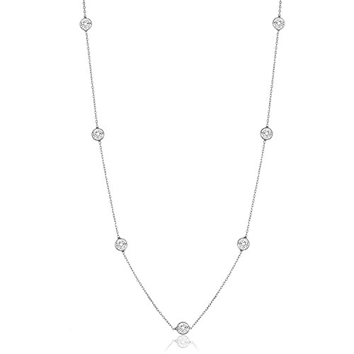 Sterling Silver Round Cubic Zirconia Station Necklace 18