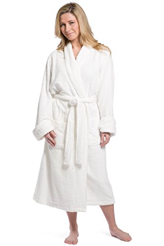 Fishers Finery Womens Resort Style Terry Robe/Spa Robe; Eco Friendly; Plush Full Length Terry Robe; Perfect Gift Idea for Wife Mother ,White ,Small/Medium