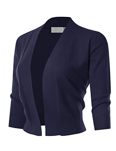 MAYSIX APPAREL 3/4 Sleeve Solid Open Bolero Cropped Cardigan for Women Navy 3XL
