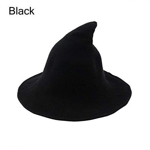 Goocheer Halloween Wool Witch Hat Wide Brim Foldable Pointed Cap Headwear Fancy Costume (22.4 inch, Black) ()