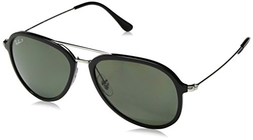 - Ray-Ban RB4298 Aviator Sunglasses, Black/Polarized Green, 57 mm