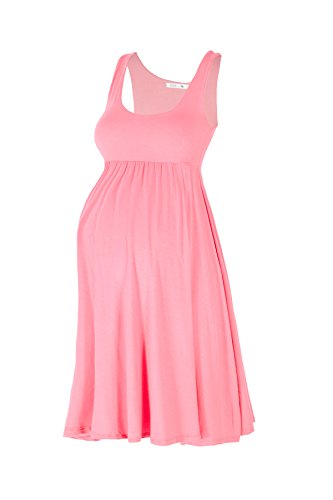 Beachcoco Women's Maternity Knee Length Tank Dress (S, Pink)