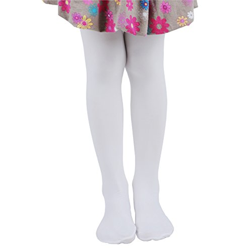 Innabella Girls Microfiber Soft Opaque Solid Colored Footed Tights (5-7, (Fashion Solid Tight)