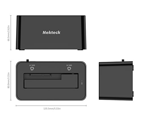 Nekteck USB Type C USB3.1 (USB-C) to SATA 2.5/3.5 Inch External Hard Drive Disk Docking Station Enclosure for for 3.5'' 2.5'' SATA HDD and SSD [Support Up to 8TB] - Tool Free, 1 Bay by Nekteck (Image #4)