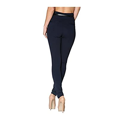 2LUV Women's High Waisted Ponte Dress Pants W/Leather Belt Navy S at Women's Clothing store