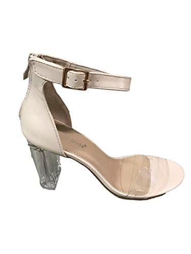 Top Moda Women's Alma-55 Lucite Clear Strappy Block Chunky High Heel Open Peep Toe Sandal (8, Nude)