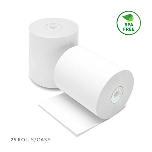 "Thermal Cash Register POS Receipt Paper Roll 3 1/8"" X 230' (25 Rolls) BPA Free Clover Station & Square POS Epson TM-T88 T-20 T-90 Bixolon SRP-350 370"