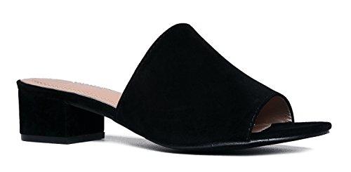 Low Slip On Sandal Slide - Comfortable Everyday Block Heel - Trendy Slipper Shoe - Rudi By J Adams