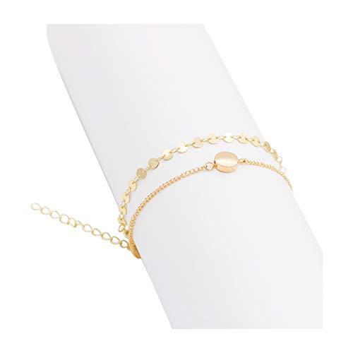 Zealmer Layered Gold Bracelet Set Disc Hand Bracelet with Circle Disc 2 Pieces
