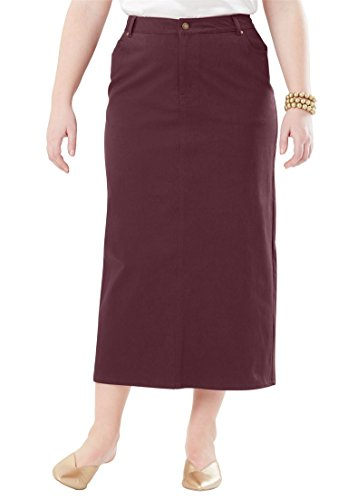 Jessica London Women's Plus Size True Fit Denim Midi Skirt Deep Merlot,20 by Jessica London