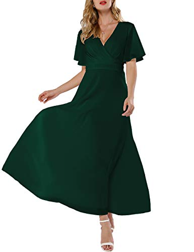 3aafa4ef68e Azalosie Women Wrap Maxi Dress Short Sleeve Empire Waist Flowy Dress  Wedding Formal Party Prom Evening