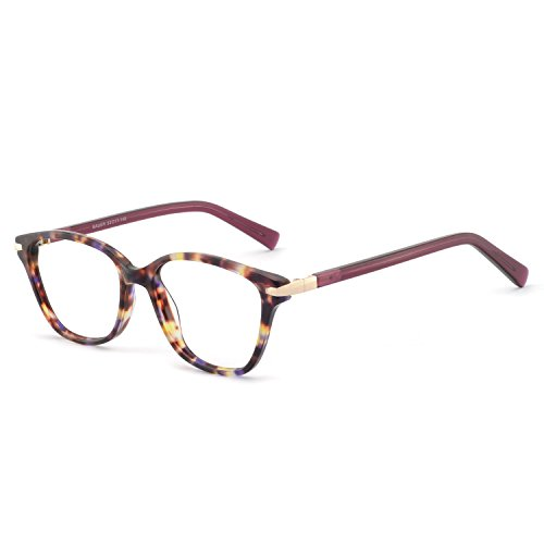 OCCI CHIARI Womens Rectangle Stylish Eyewear Frame Non-Prescription Clear Eyeglasses (C-Purple Demi(Anti-Blue Light)) ()