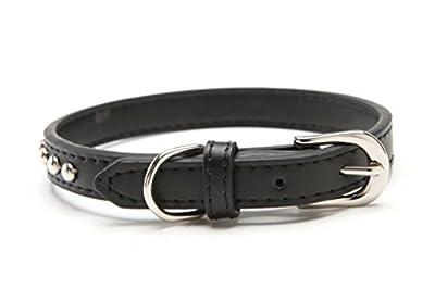 BINGPET Real Split Leather Studded Pet Dog Collar