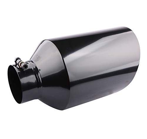"MOSTPLUS Truck Diesel Exhaust Tip Black Stainless Steel Tailpipe Tip 4"" Inlet; 8"" Outlet; 15"" Length"