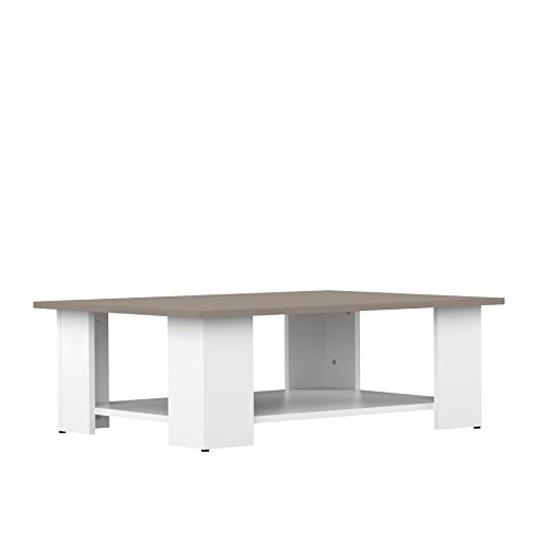 Symbiosis Square Coffee Table With Double Shelf White Gray 30 5