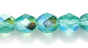 Preciosa Czech Fire 6 mm Faceted Round Polished Glass Bead, Aquamarine Aurora Borealis, 150-Pack (Beads Round Aquamarine)