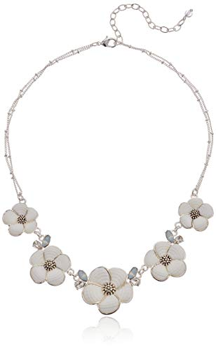 Napier Women's Silver/White 16 inch Flower Frontal Necklace