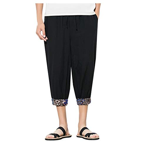 Harem Pants Mens Jogger Pants Summer Casual Fitness Trousers Linen Loose Black