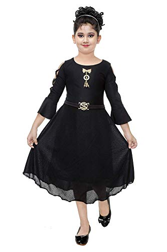 DIGIMARTS Girl's Black Fancy Long Frock