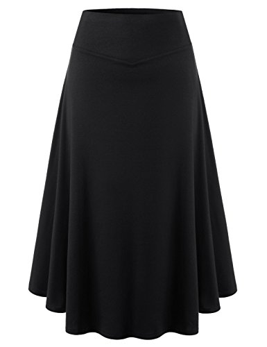TheLees (NKWSK612) Womens 1 Mile Wear High Waist Flare A Line Midi Flower Skirt BLACK US L(Tag size XL) by TheLees