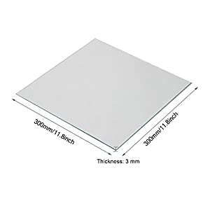 Wisamic Clear Borosilicate Glass Heat Bed 300x300x3mm for 3D Printers Prusa, Tevo Tornado, Mendela, AO Series by Wisamic