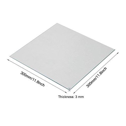 Wisamic Clear Borosilicate Glass Heat Bed 300x300x3mm for 3D Printers Prusa, Tevo Tornado, Mendela, AO Series by Wisamic