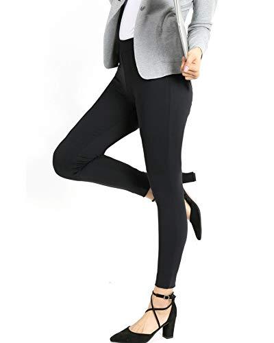 Bamans Yoga Dress Pants,Tummy Control Workout Leggings for Women, Office Strechy Skinny Pants, Black -