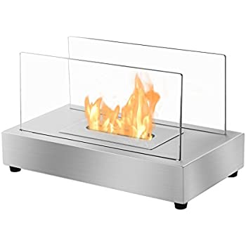 Ignis Portable Tabletop Ventless Bio Ethanol Fireplace - Tower (Stainless Steel)