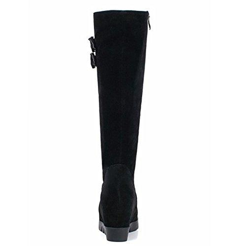 with High Mid Warm Women Heel Boots Calf Black Buckle Coolcept Wedge Zipper qxaXztwBz
