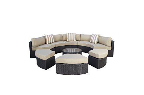 Madbury Road Santorini 9 Piece Outdoor Sectional Daybed Set