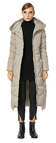 Orolay Women's Puffer Down Coat Winter Maxi Jacket with Hood Beige XS by Orolay (Image #3)