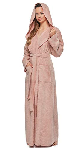 Arus Womens Princess Robe Ankle Long Hooded Silky Light Turkish Cotton Bathrobe Misty Rose Large