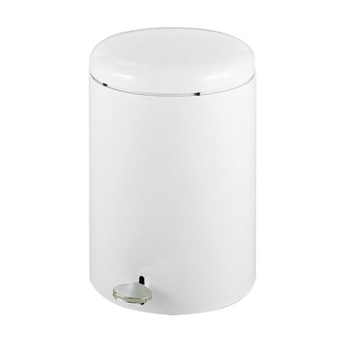 Safco Products 9681WH Round Step-On Trash Can, 4-Gallon, White