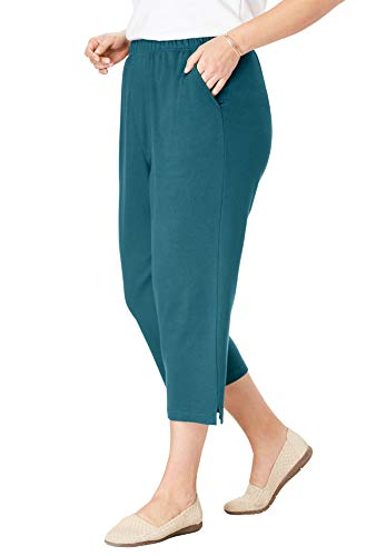 Woman Within Women's Plus Size 7-Day Knit Capri - Midnight Teal, 5X