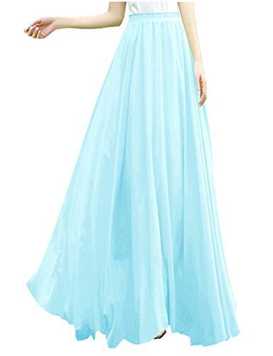 v28 Women Full/Ankle Length Elastic Retro Maxi Chiffon Long Skirt (XS,Ice Blue)